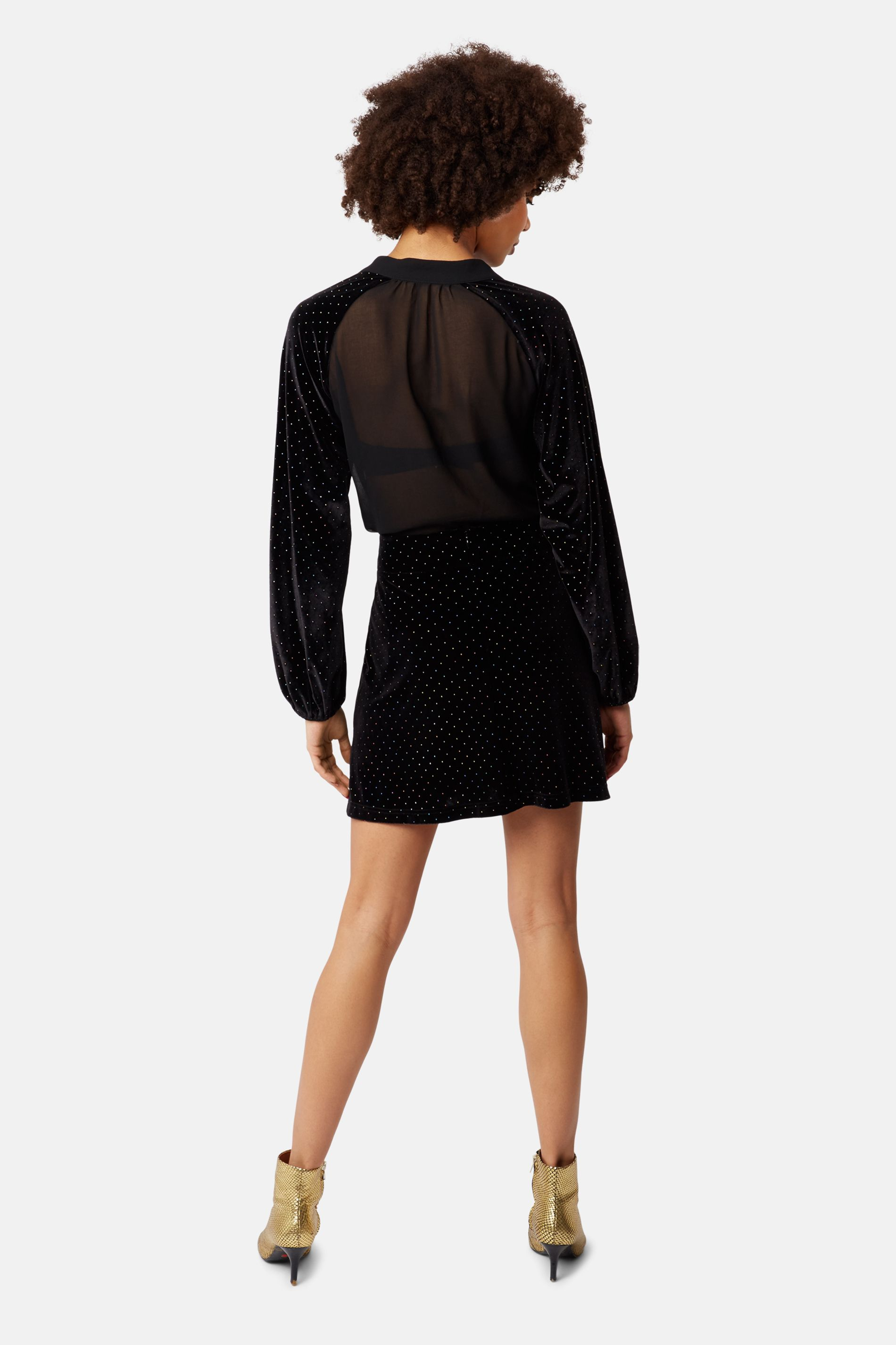 White Light Rainbow Stud Mini Skirt in Black