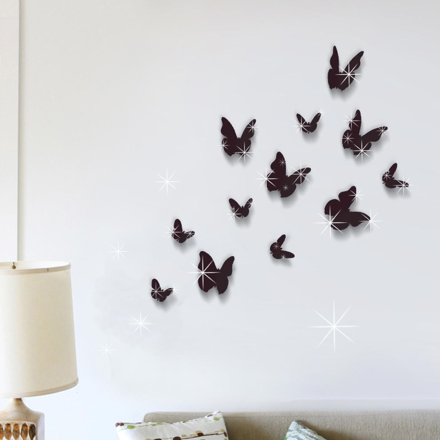 3D Butterfly Black and Swarovski 2.9mm Clear Crystals Wall Sticker
