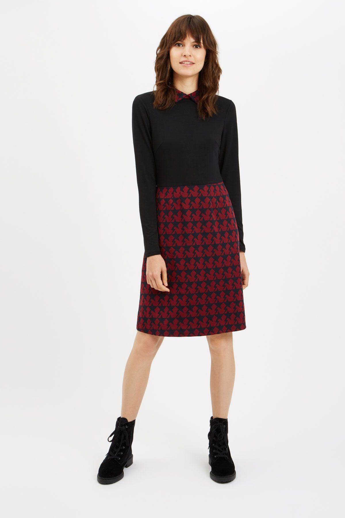 Top N' Tail Mini Long Sleeve Dress in Wine