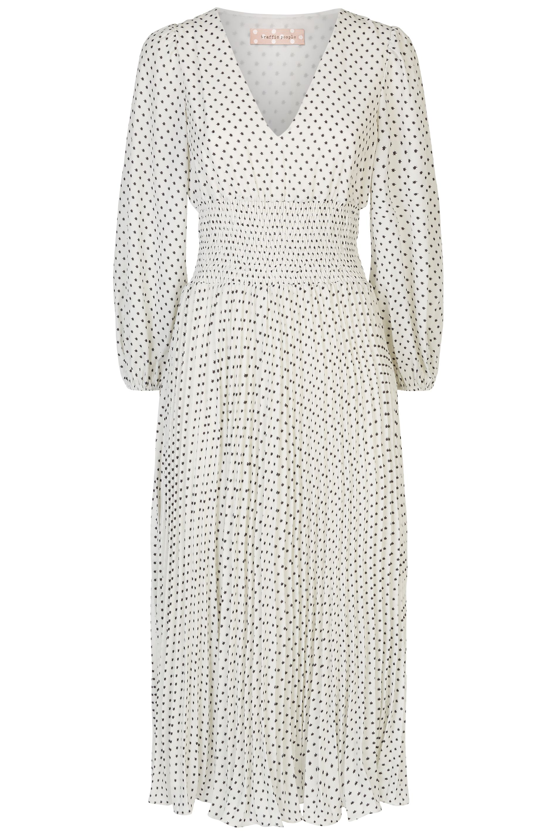 Aurora Star Print Pleated Midi Dress in White