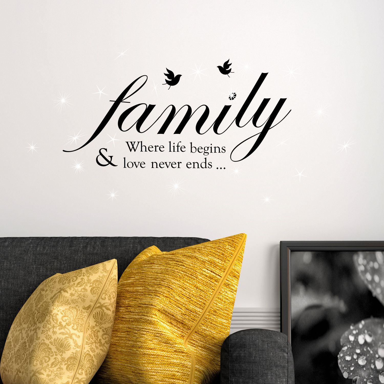 Walplus Wall Sticker Decal Family Quote with Swarovski Crystals