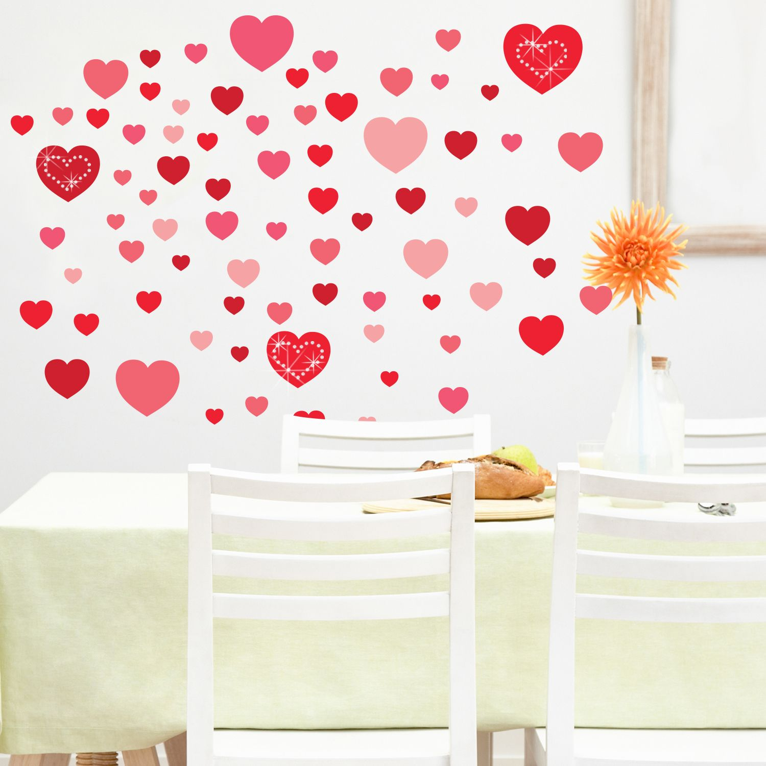 Hearts and White Swarovski Hearts Wall Sticker