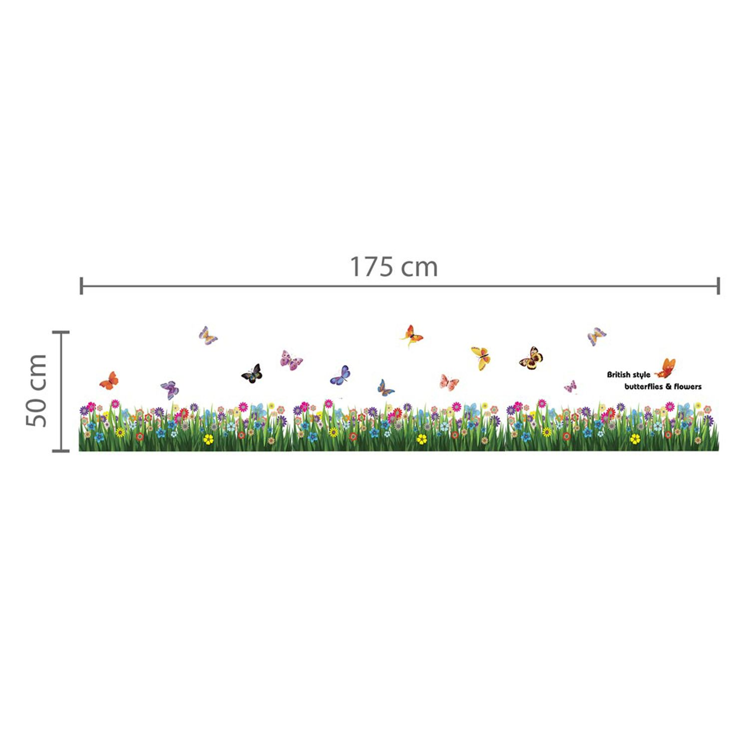 Walplus Wall Sticker Butterfly Grass Skirting with Swarovski Crystals