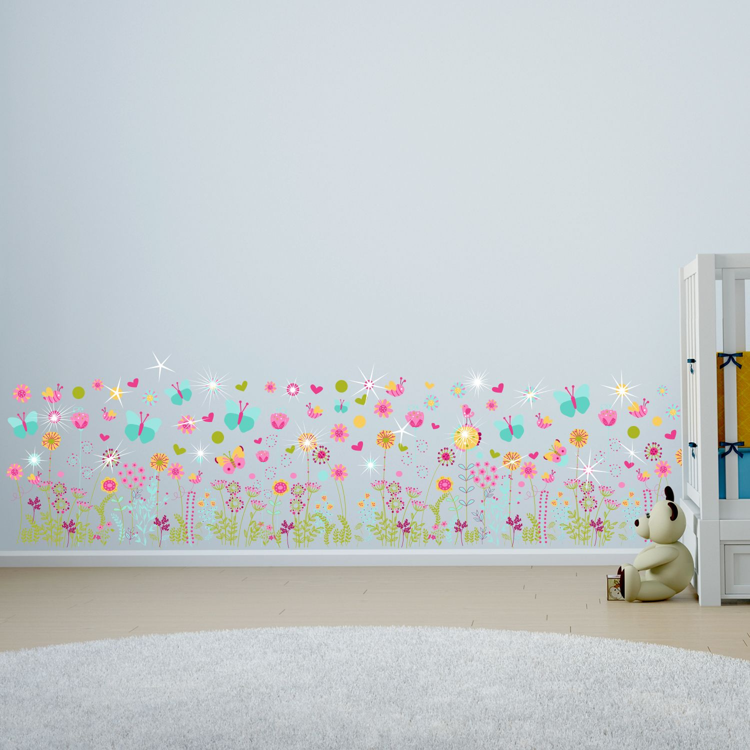Walplus Wall Sticker Colourful Butterflies with Flower Skirting Decoration with Swarovski Crystals