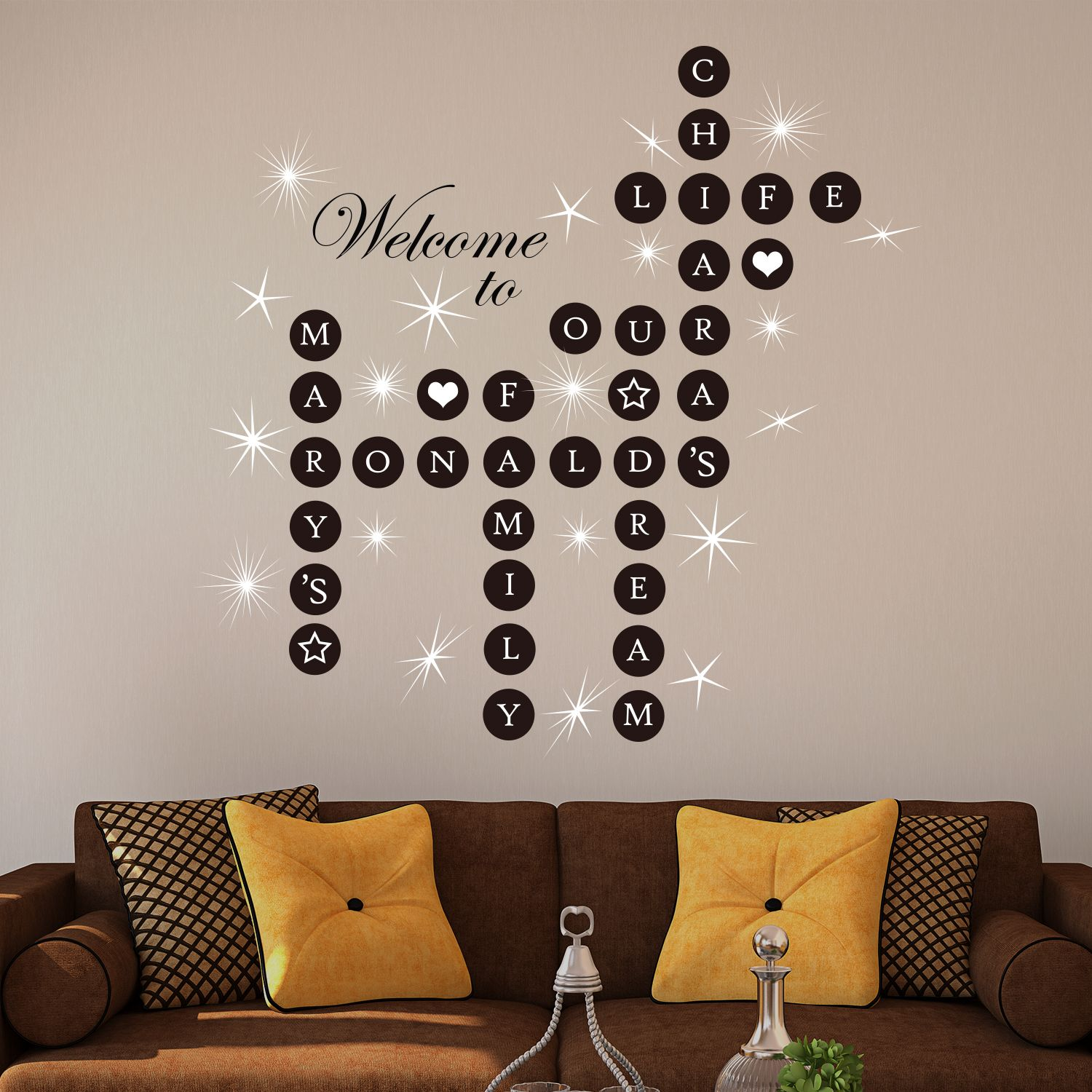 Walplus Welcome Home Puzzle Wall Sticker Wall Decal Decoration with Swarovski Crystals