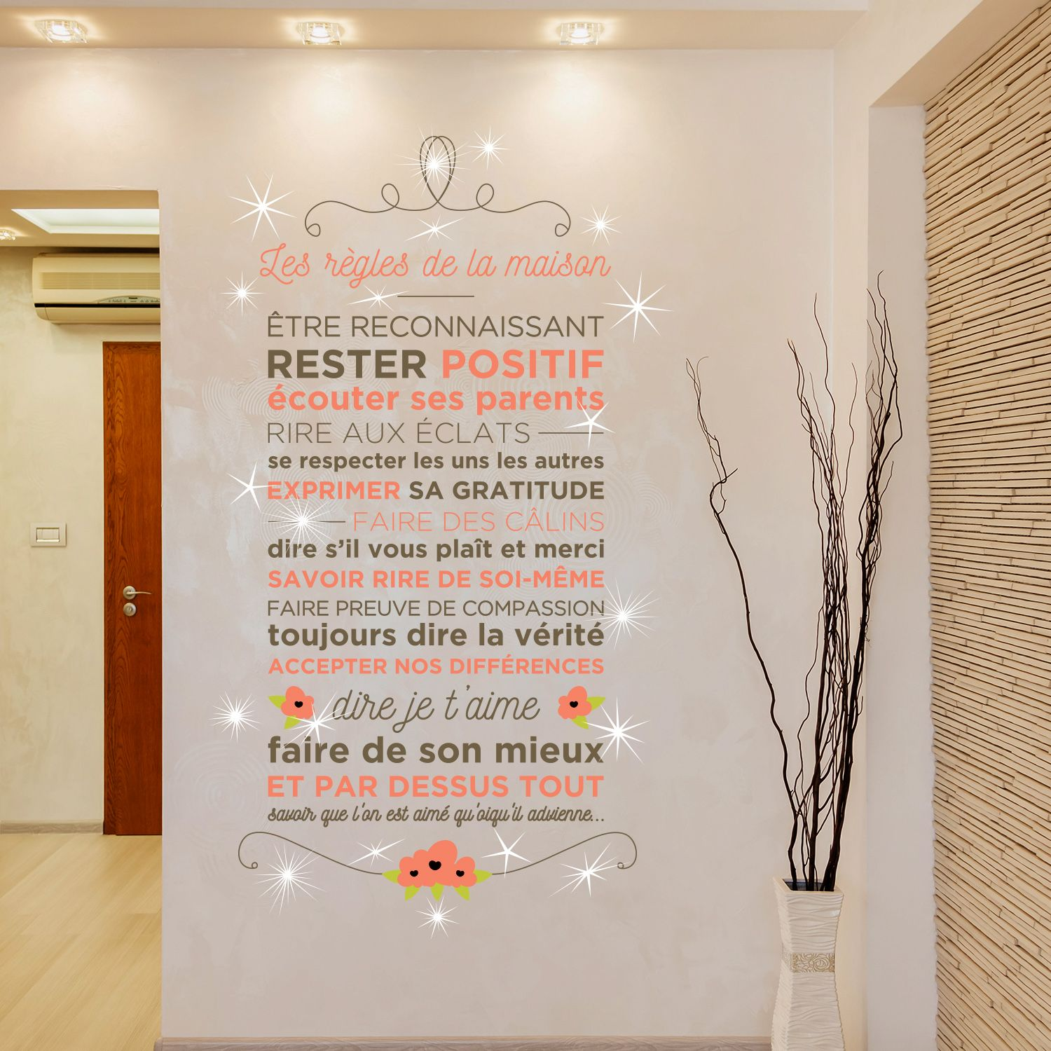 Walplus French Floral Quote Wall Sticker Wall Decal Decoration with Swarovski Crystals