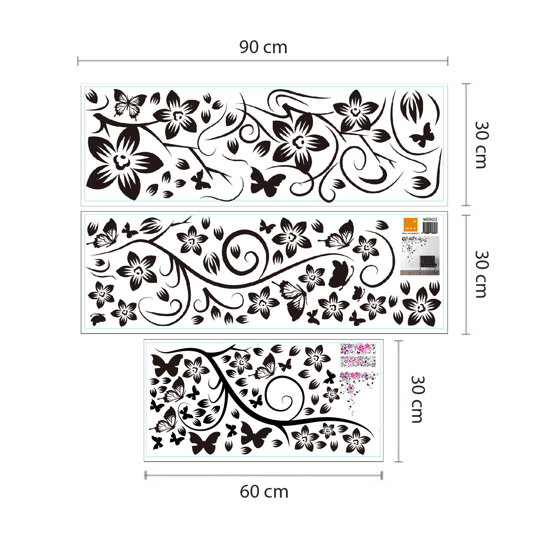 Wall Sticker Black Butterfly Vine with Swarovski Crystals