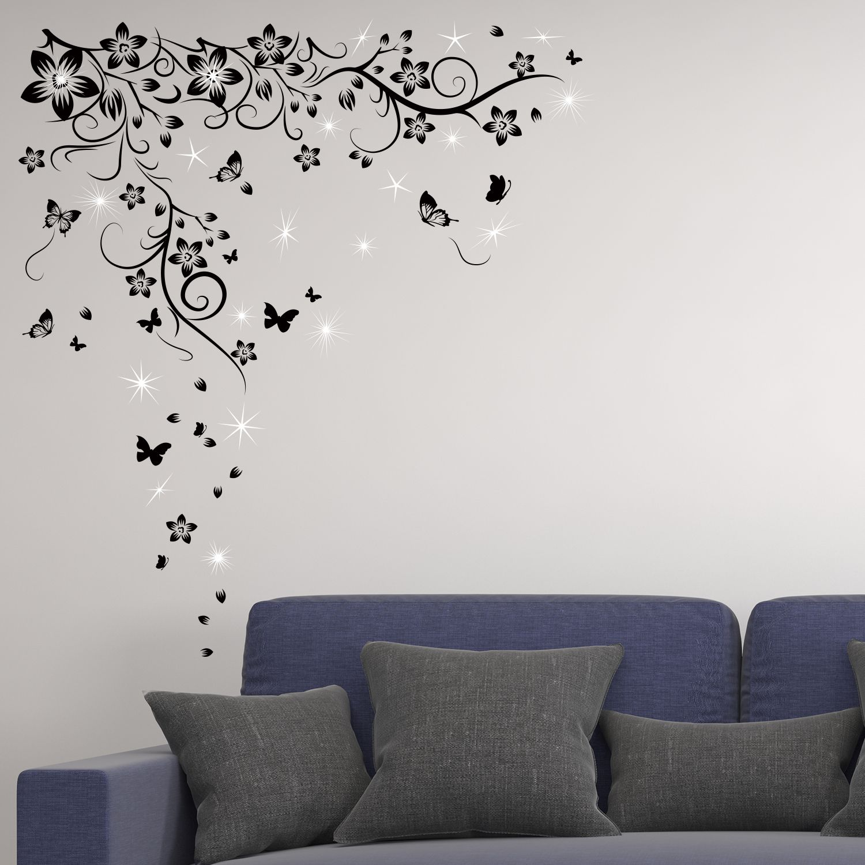 Walplus Wall Sticker Decal Butterfly Vine with Swarovski Crystals