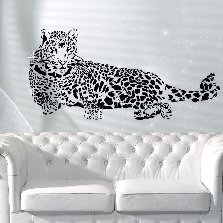Wall Sticker Decal Leopard with Swarovski Crystals