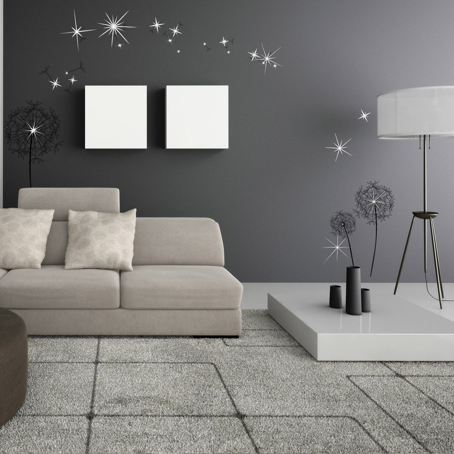 Wall Sticker Huge Black Dandelion with Swarovski Crystals