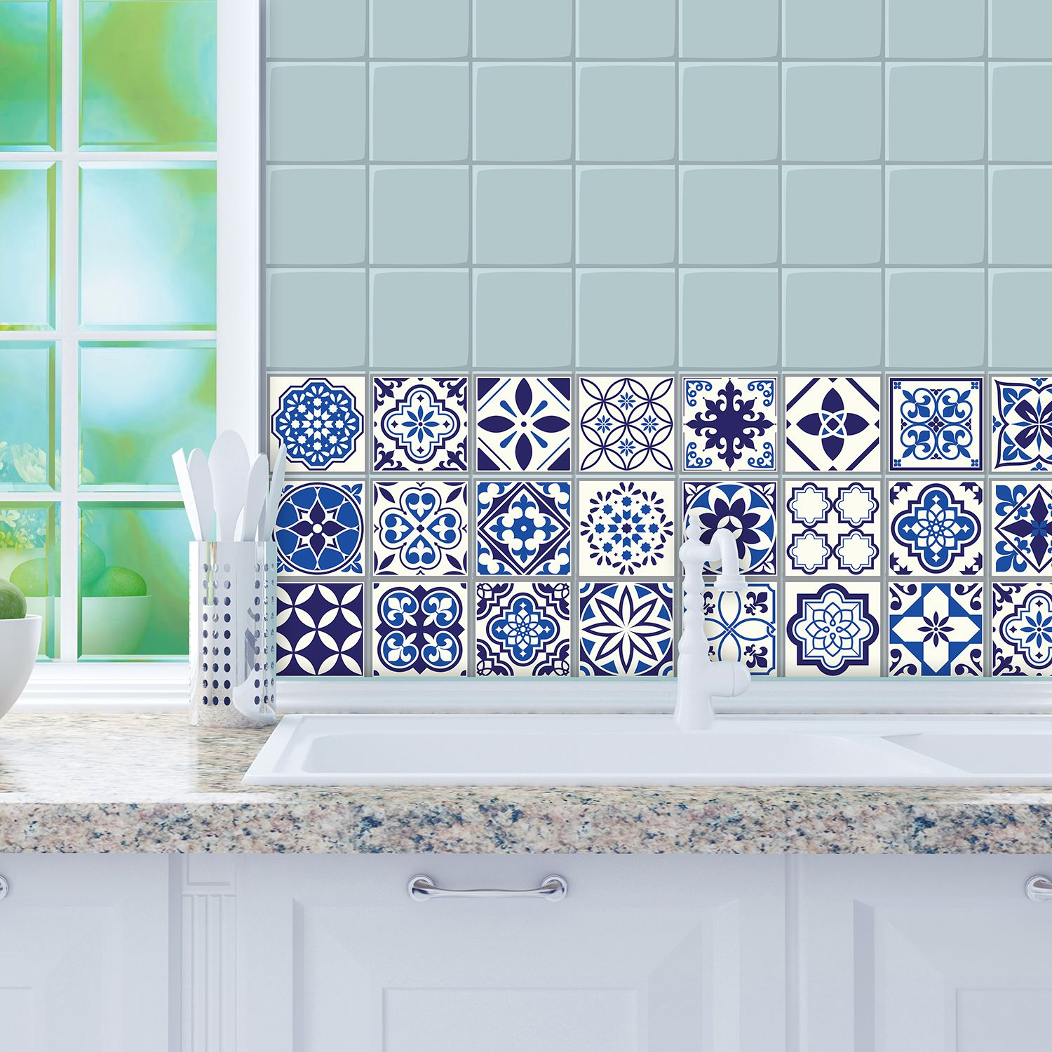 WT1001 - Spanish and Moroccan Blue Tiles Wall Stickers Mix - 10 cm  x 10 cm - 24 pcs.