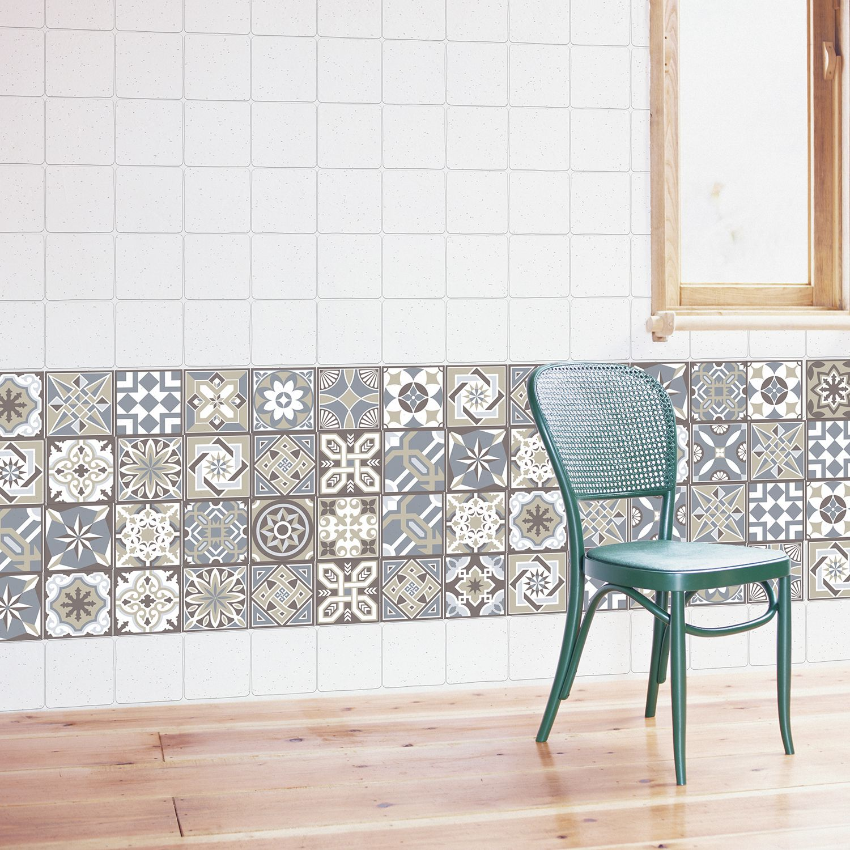WT1002 - Limestone Spanish Tiles Wall Stickers - 10 cm x 10 cm - 24 pcs.