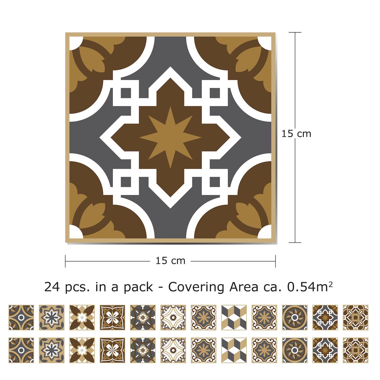 WT1506 - Dark Bronze Tiles Wall Stickers - 15 cm x 15 cm - 24 pcs.