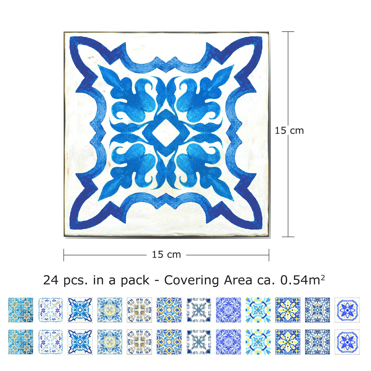 Walplus Tile Sticker Sky Classic Blue Mosaic Wall Sticker Decal (Size: 15cm x 15cm @ 24pcs)