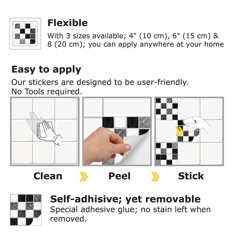 Marble Mosaic Tiles Wall Stickers - 15 cm x 15 cm - 24 pcs.
