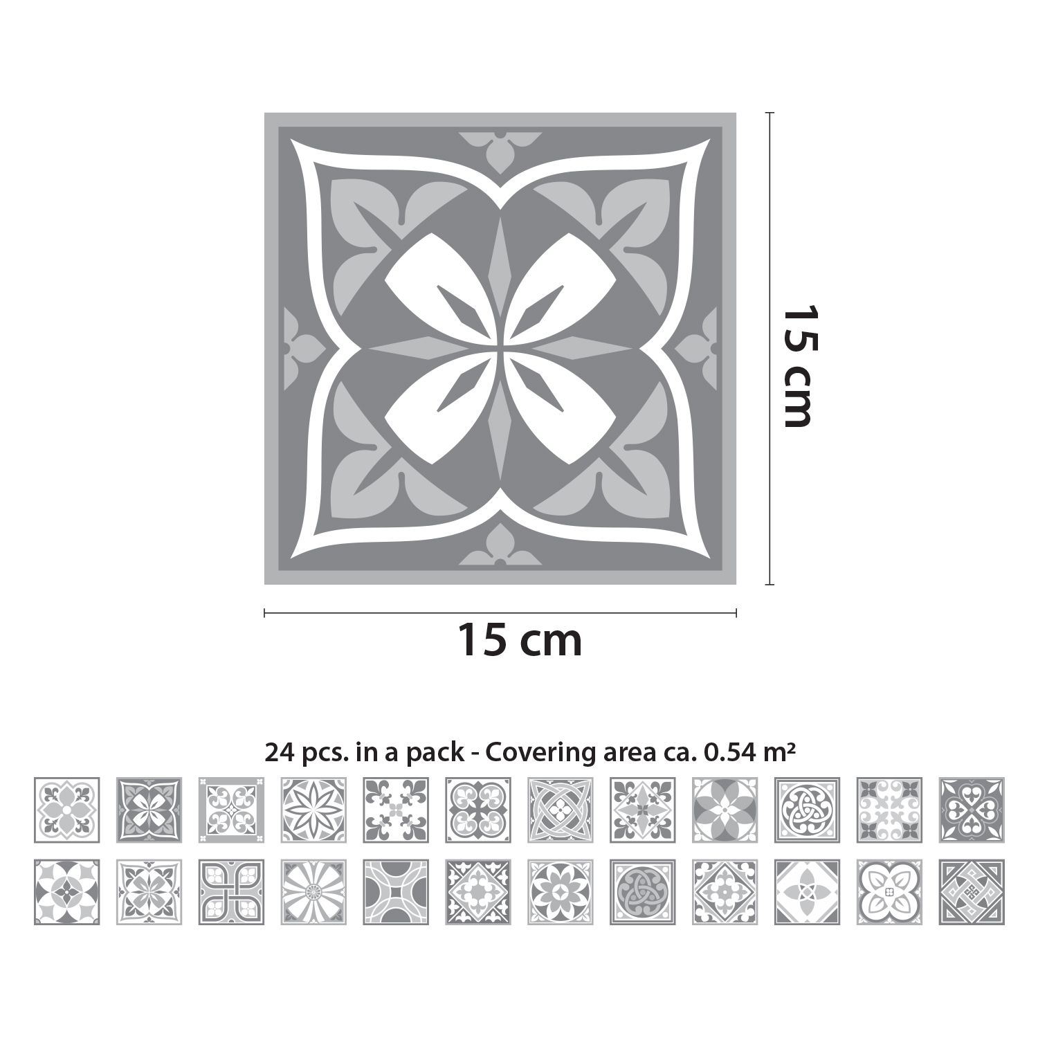 Purbeck Stone Tiles Wall Stickers - 15 cm x 15 cm - 24 pcs.