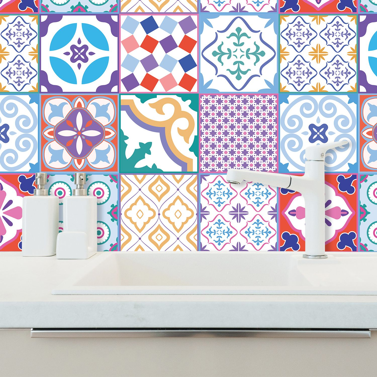 Classic Moroccan Colourful Mixed Tiles Wall Stickers Set 1 - 15 x 15 cm (6 x 6 inches) - 24 pcs. Wall Art, DIY Art, Home Decorations, Decals