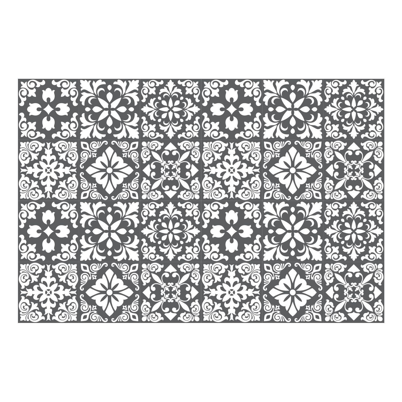Dark Grey Spanish Renaissance Tiles Wall Stickers - 15 x 15 cm (6 x 6 inches) - 24 pcs Wall Art, DIY Art, Home Decorations, Decals