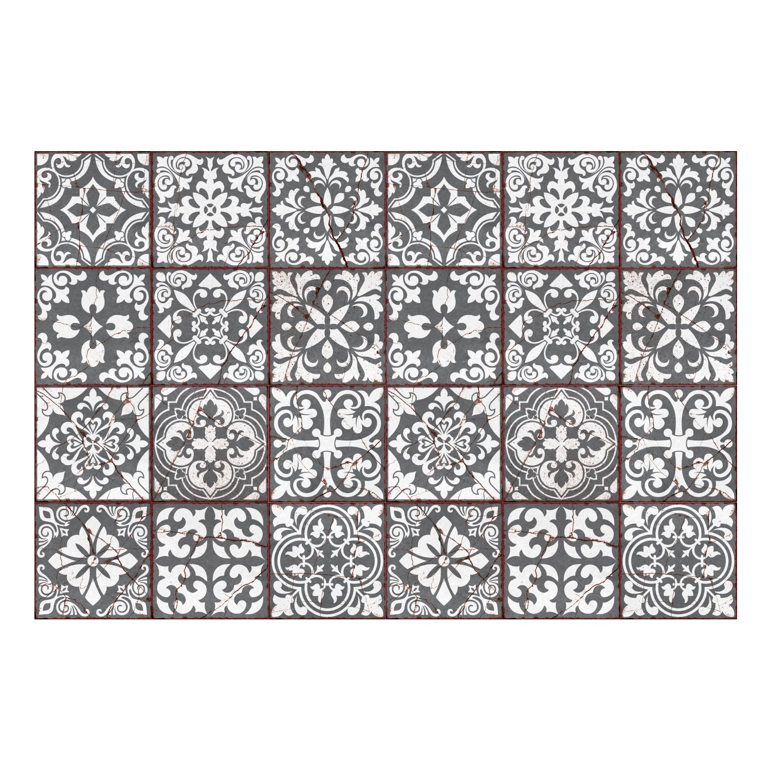 Vintage Cracked Design Medieval Tiles Wall Stickers - 15 x 15 cm (6 x 6 inches) - 24 pcs Wall Art, DIY Art, Home Decorations, Decals
