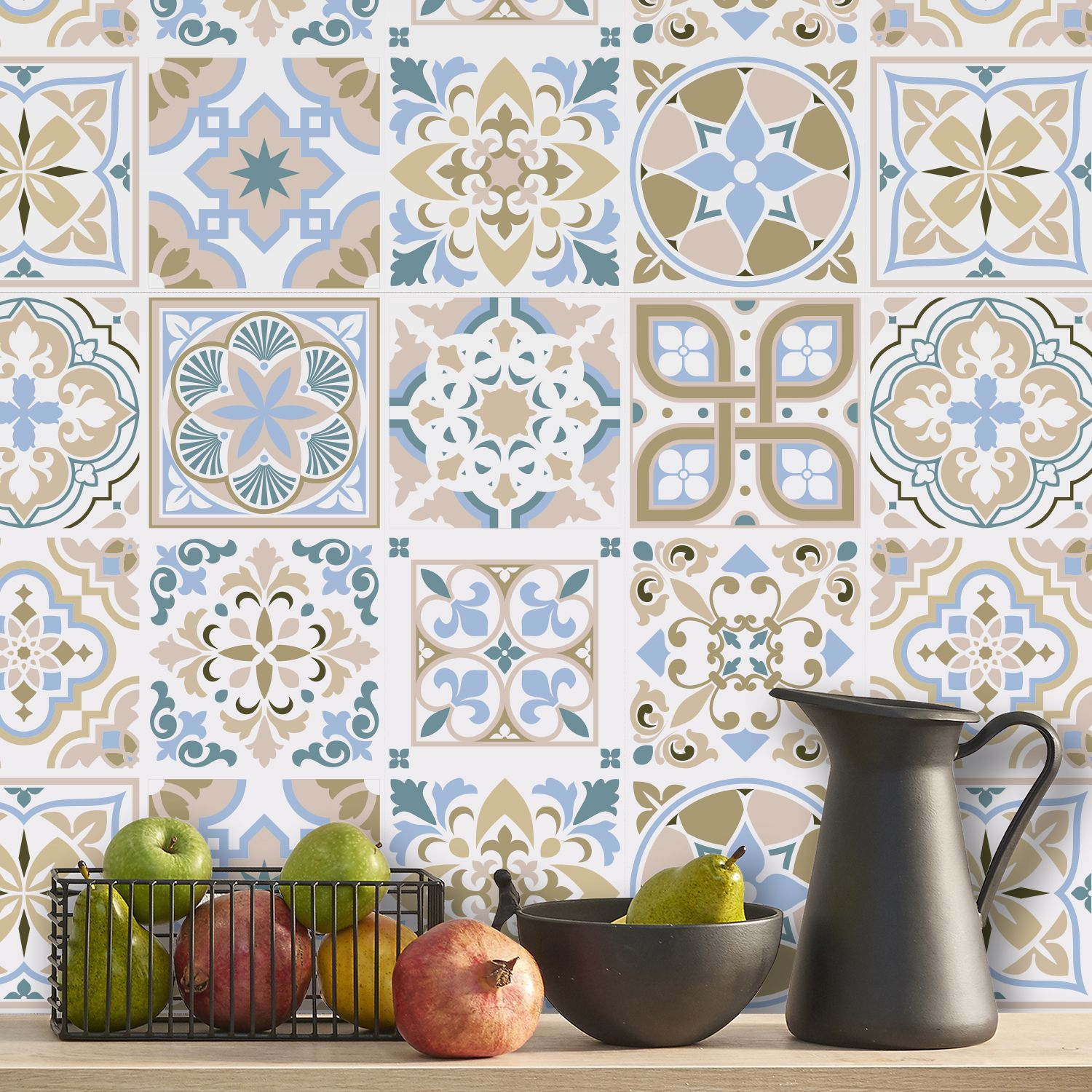 Light Sapphire and Parchment colour Traditional Spanish Tiles Wall Stickers - 15 x 15 cm (6 x 6 inches) - 24 pcs Wall Art, DIY Art, Home Decorations, Decals