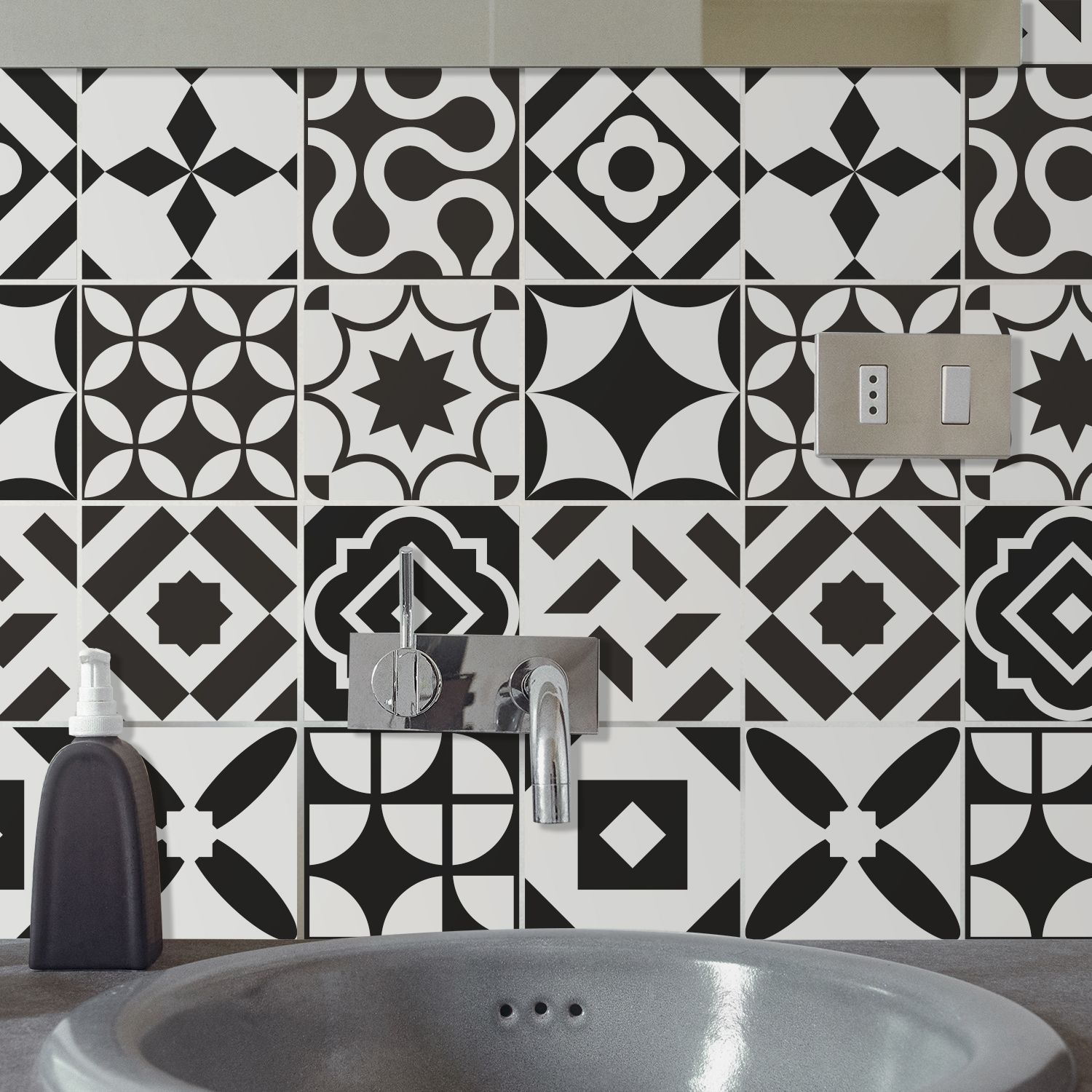 Ross Black and White Wall Tile Sticker Set - 15 x 15 cm (6 x 6 in) - 24 pcs, DIY Art, Home Decorations, Decals, Kitchen Decor, Bathroom Ideas