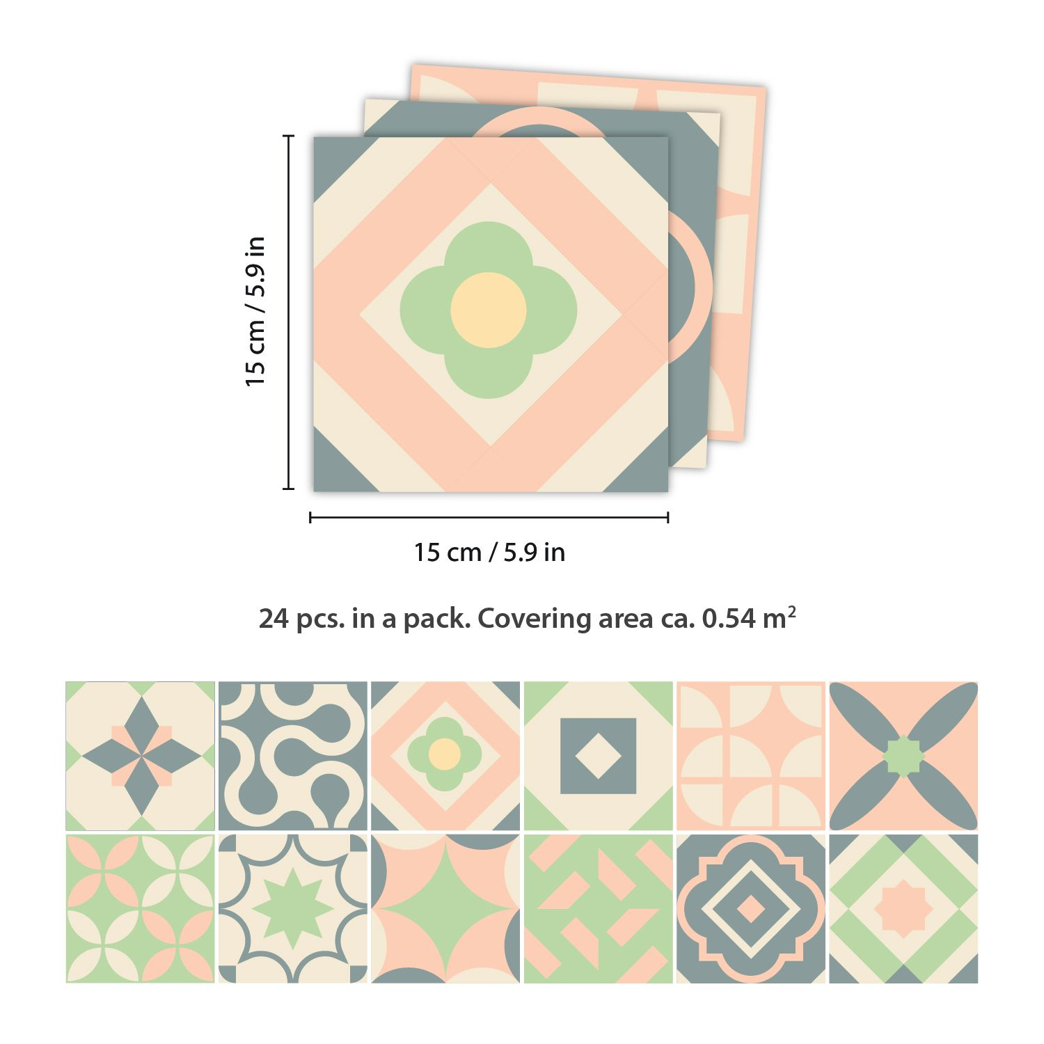 Kansas Baby Rose and Pastel Green Wall Tile Sticker Set - 15 x 15 cm (6 x 6 in) - 24 pcs, DIY Art, Home Decorations, Decals, Kitchen Decor, Bathroom Ideas
