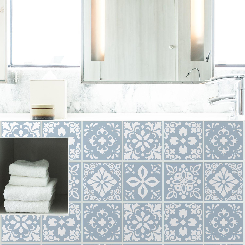 Triana Blue Cemente Spanish Wall Tile Sticker Set - 15 x 15 cm (6 x 6 in) - 24 pcs, DIY Art, Home Decorations, Decals, Kitchen Decor, Bathroom Ideas