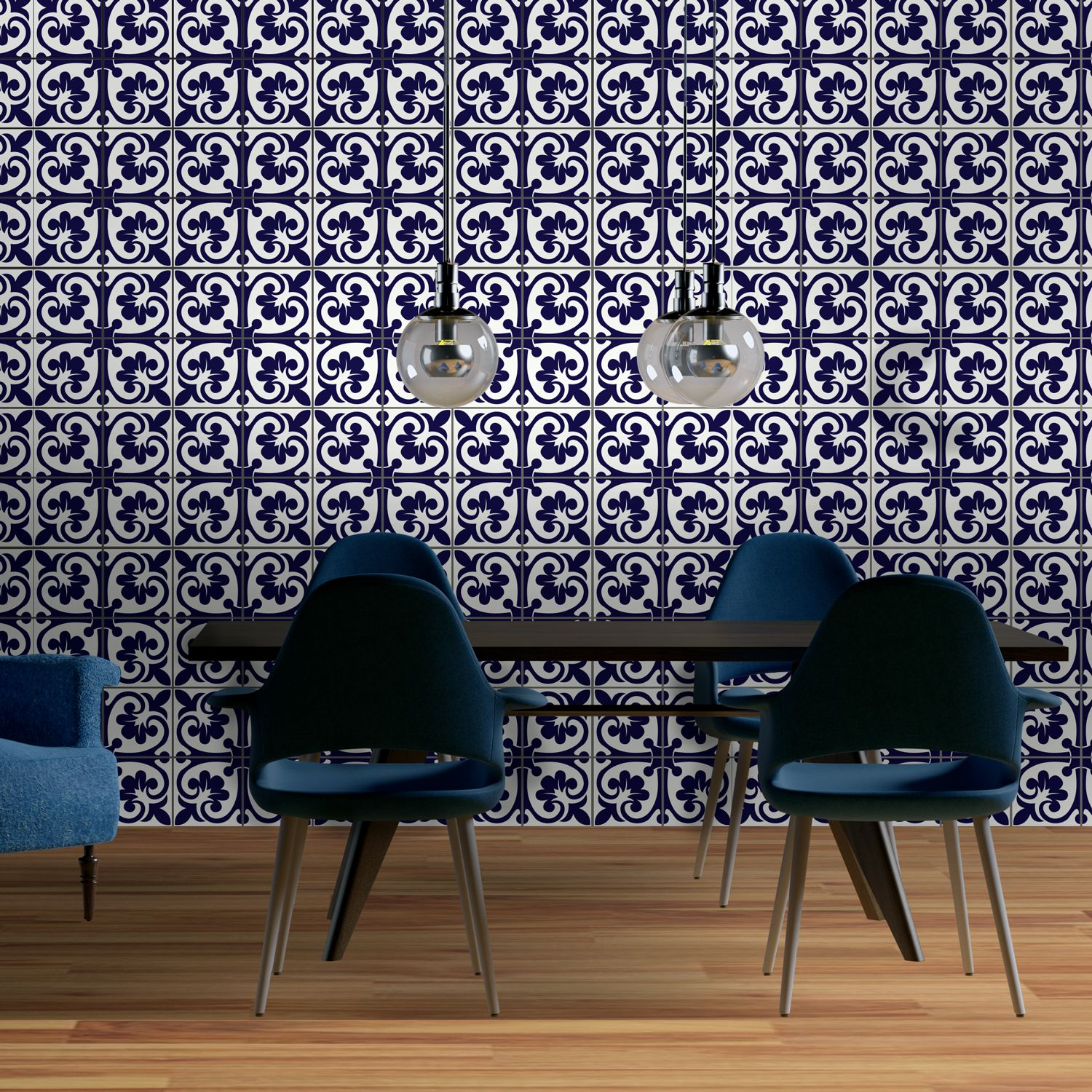 Betsy Monocromatic Dark Blue Victorian Wall Tile Sticker Set - 15 x 15 cm (6 x 6 in) - 24 pcs, DIY Art, Home Decorations, Decals, Kitchen Decor, Bathroom Ideas