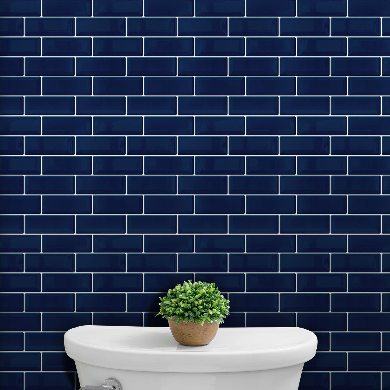 Deep Blue Glossy 3D Metro Sticker Tiles 30 x 15cm Contemporary Wall Splashbacks Mosaics, Self adhesive, Glass Effect, Peel and Stick, Bathroom Decoration, DIY, Kitchen Decor