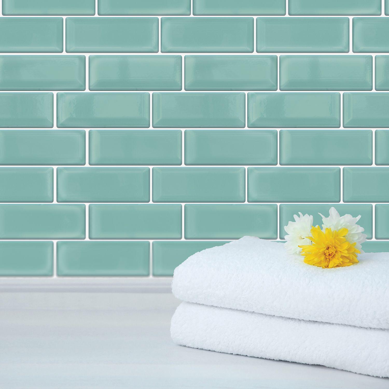 Capri Sea Glossy 3D Metro Sticker Tiles 30 x 15cm Contemporary Eclectic Wall Splashbacks Mosaics, Self adhesive, Glass Effect, Peel and Stick, Bathroom Decoration, DIY, Kitchen Decor