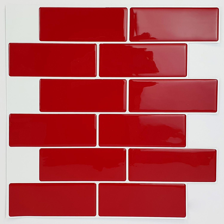 Cherry Red Metro 3D Metro Sticker Tiles 30 x 30cm Retro Wall Splashbacks Mosaics, Self adhesive, Glass Effect, Peel and Stick, Bathroom Decoration, DIY, Kitchen D+®cor