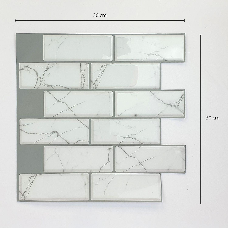 White Marble eclectric 3D Metro Sticker Tiles 30 x 30cm Premium Wall Splashbacks Mosaics, Self adhesive, Glass Effect, Peel and Stick, Bathroom Decoration, DIY, Kitchen D+®cor
