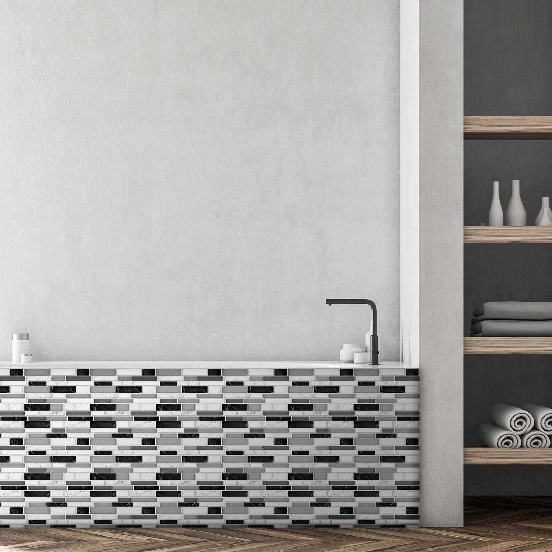 Light and Dark Marble Glossy 3D Metro Sticker Tiles 30 x 30cm Premium Wall Splashbacks Mosaics, Self adhesive, Glass Effect, Peel and Stick, Bathroom Decoration, DIY, Kitchen D+®cor