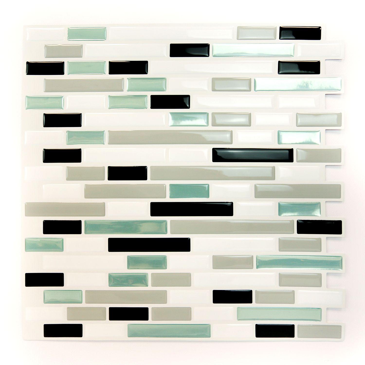 Metalic Turquoise Mosaic Glossy 3D Metro Sticker Tiles 30 x 30cm Premium Wall Splashbacks Mosaics, Self adhesive, Glass Effect, Peel and Stick, Bathroom Decoration, DIY, Kitchen D+®cor