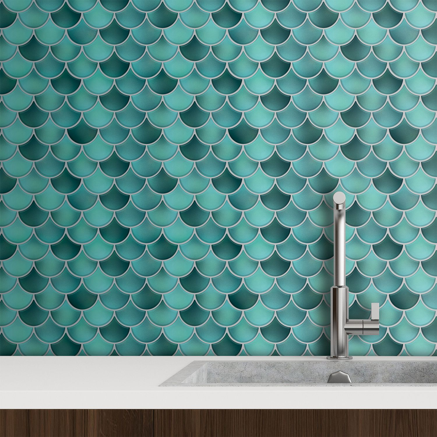 Fresh Turquoise Glossy 3D Metro Sticker Tiles 30 x 30cm Contemporary Eclectic Wall Splashbacks Mosaics, Self adhesive, Glass Effect, Peel and Stick, Bathroom Decoration, DIY, Kitchen D+®cor