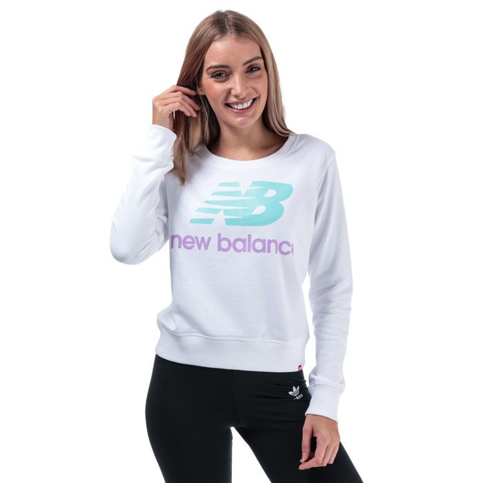Women's New Balance Essentials Crew Sweatshirt in White