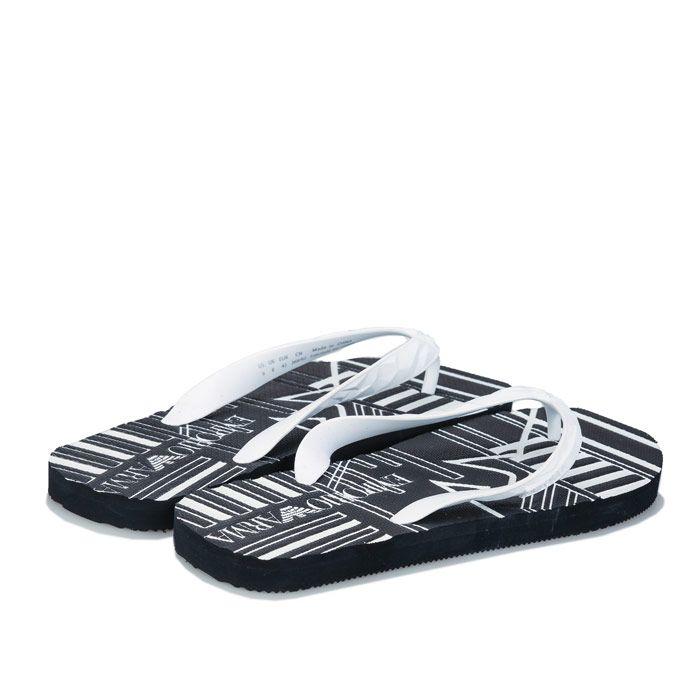 Men's Armani Flip Flops in Black-White