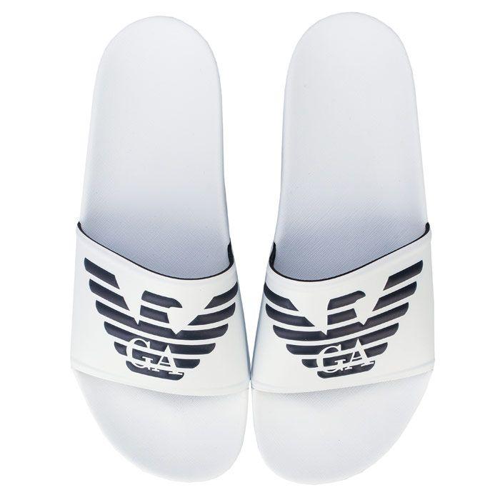 Men's Armani Embossed Logo Slide Sandals in White