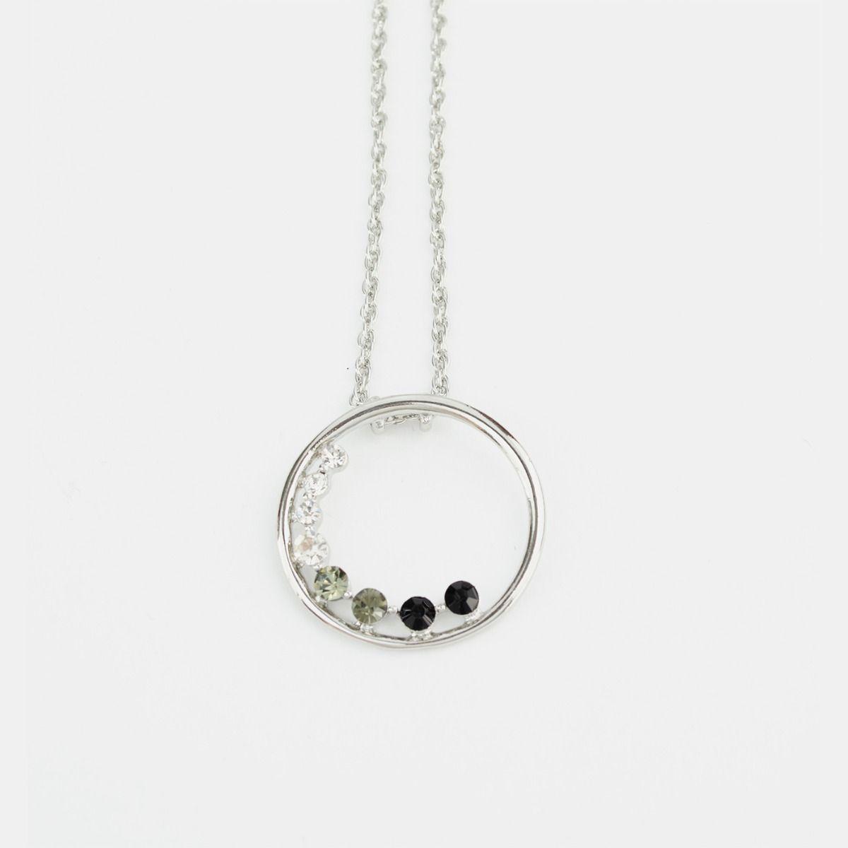 Fiorelli Fashion Imitation Rhodium Plated Open Circle Gradient Crystal Necklace 46cm + 5cm