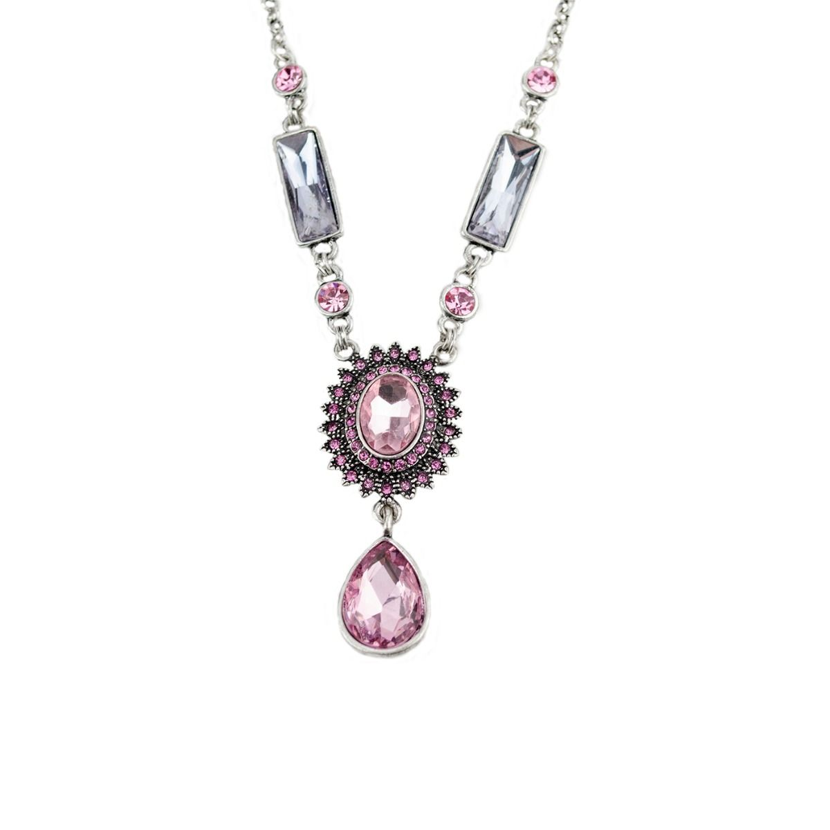 Fiorelli Fashion Imitatoin Oxidised Silver Plated Pink & Lilac Crystal Vintage Style Necklace 50cm + 8cm