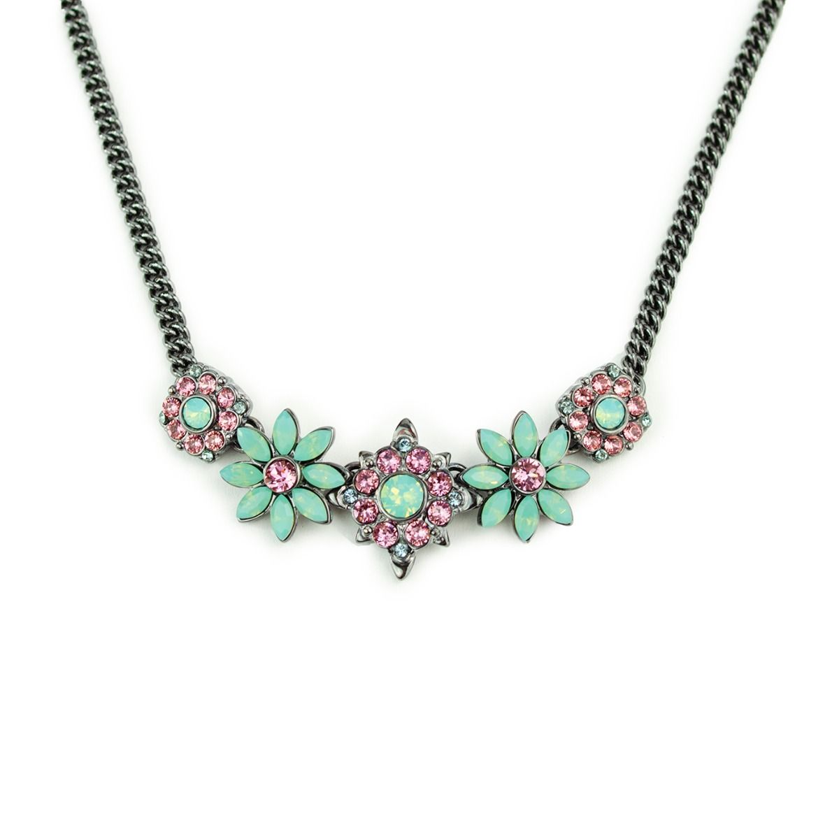 Fiorelli Fashion Gunmetal Plated Pink & Mint Crystal by Swarovski Flower Statement Necklace 45cm + 5cm