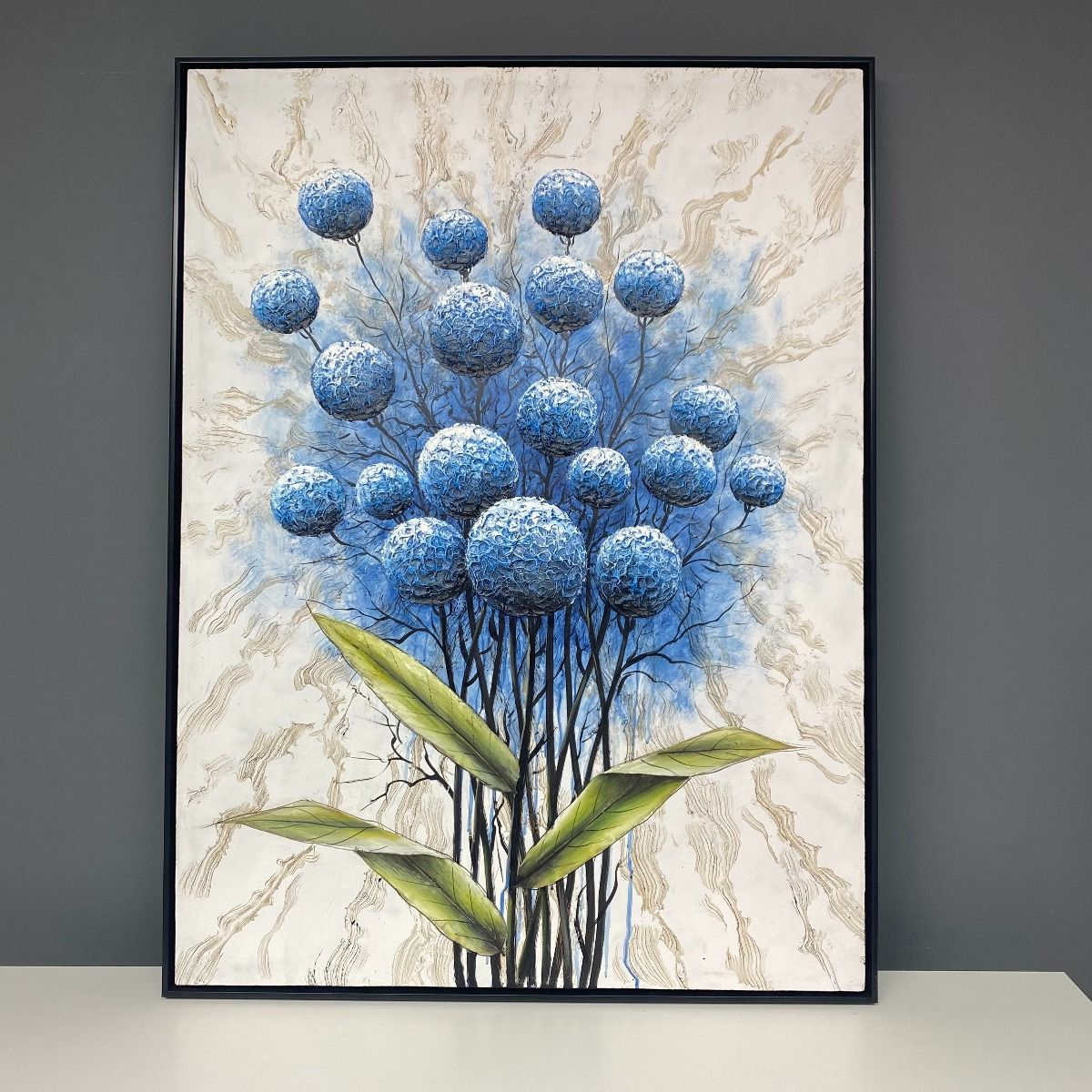 Bluebloom Painted Canvas with Black Frame 90x120