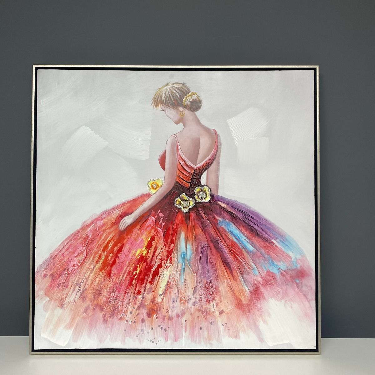 Ballerina Painted Canvas with Silver Frame 90x90