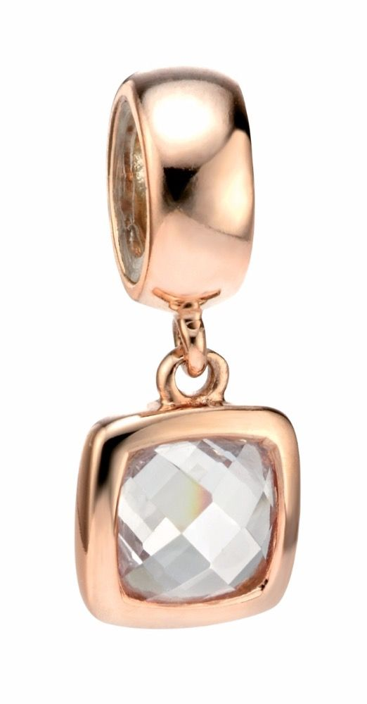 Elements Silver Womens 925 Sterling Silver Rose Gold Plate Spacer Charm Bead with Square Clear Cubic Zirconia