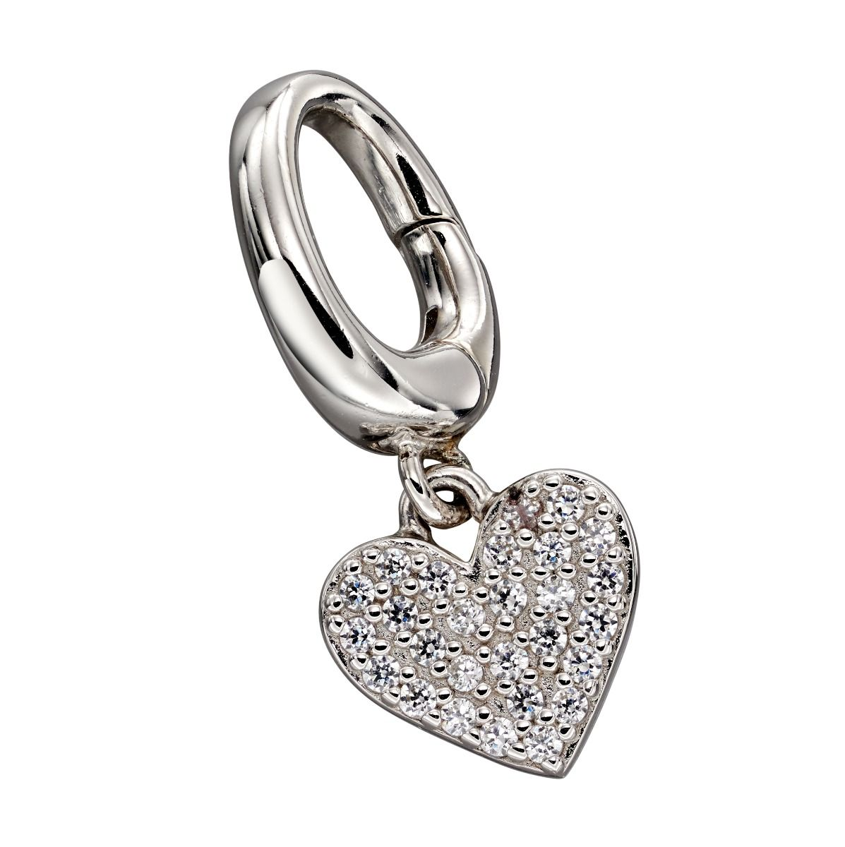 Fiorelli Silver Womens 925 Sterling Silver Pave Cubic Zirconia Heart Spring Catch Charm