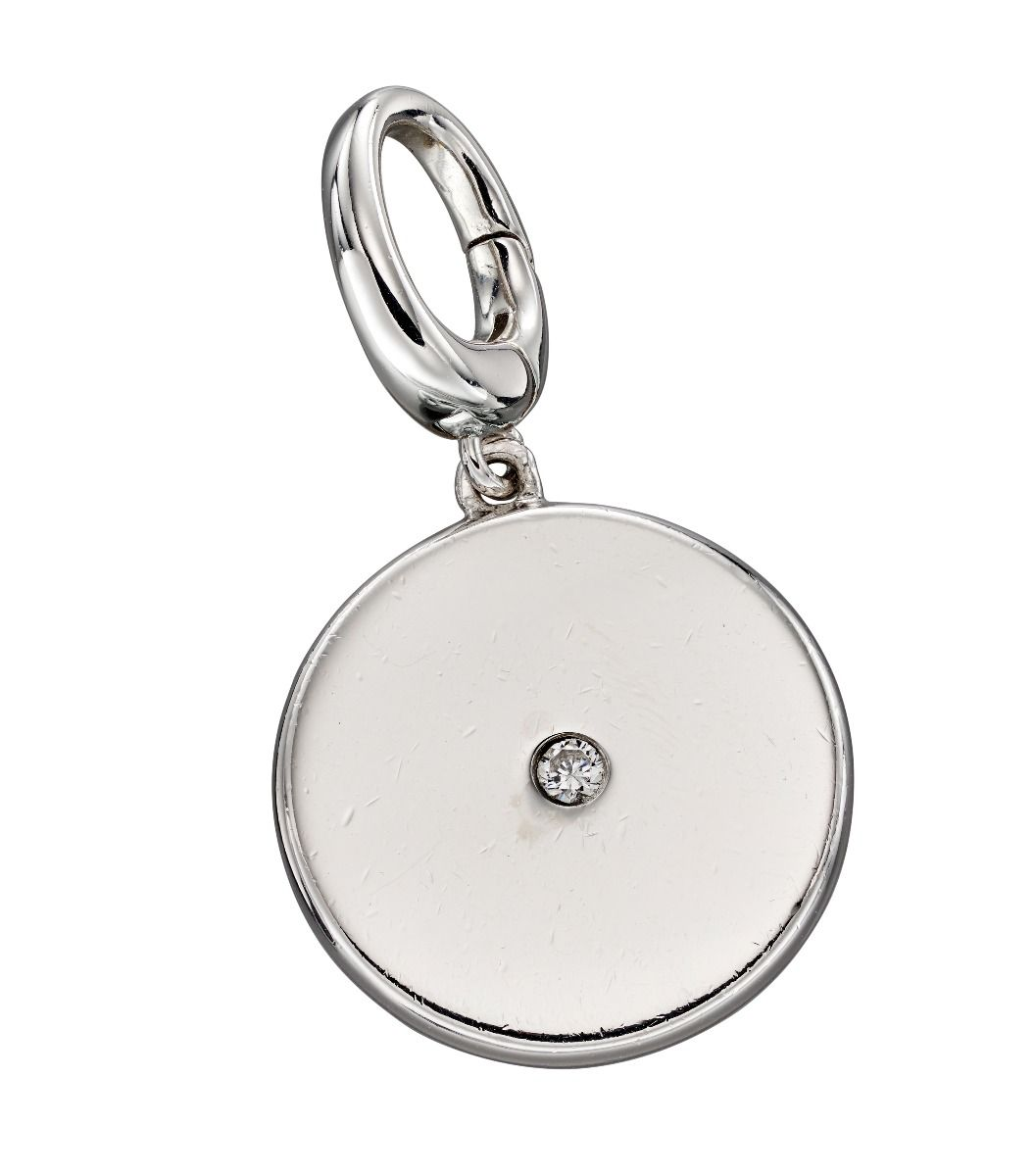 Fiorelli Silver Womens 925 Sterling Silver Cubic Zirconia Bigger Round Disc Spring Catch Charm