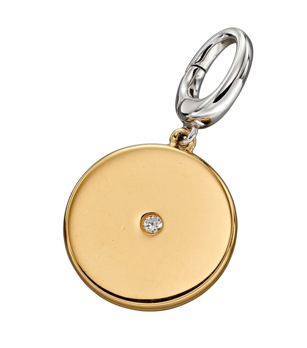 Fiorelli Silver Womens 925 Sterling Silver Gold Plated Cubic Zirconia Round Disc Spring Catch Charm
