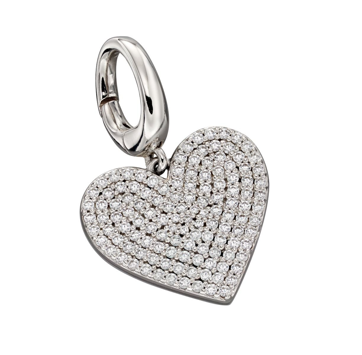 Fiorelli Silver Womens 925 Sterling Silver Pave Cubic Zirconia Bigger Hear Spring Catch Charm