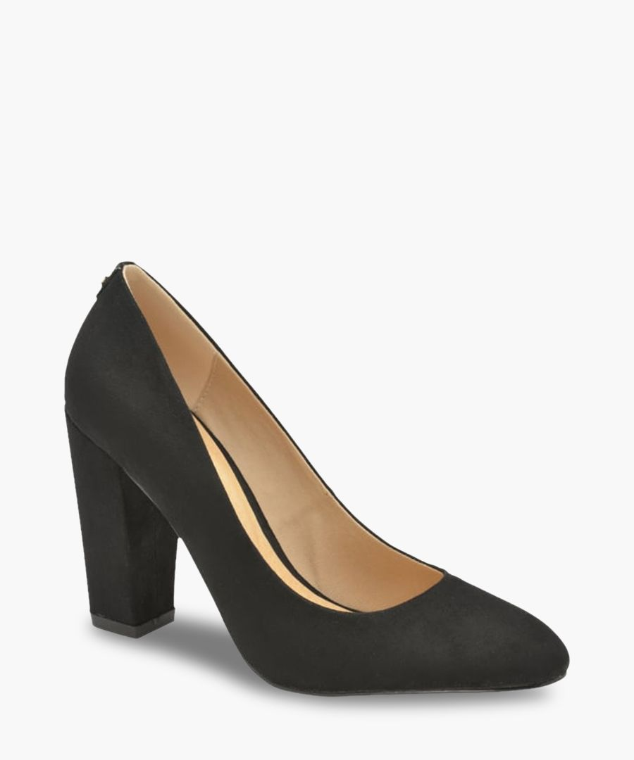 Roxton black block heeled court shoes