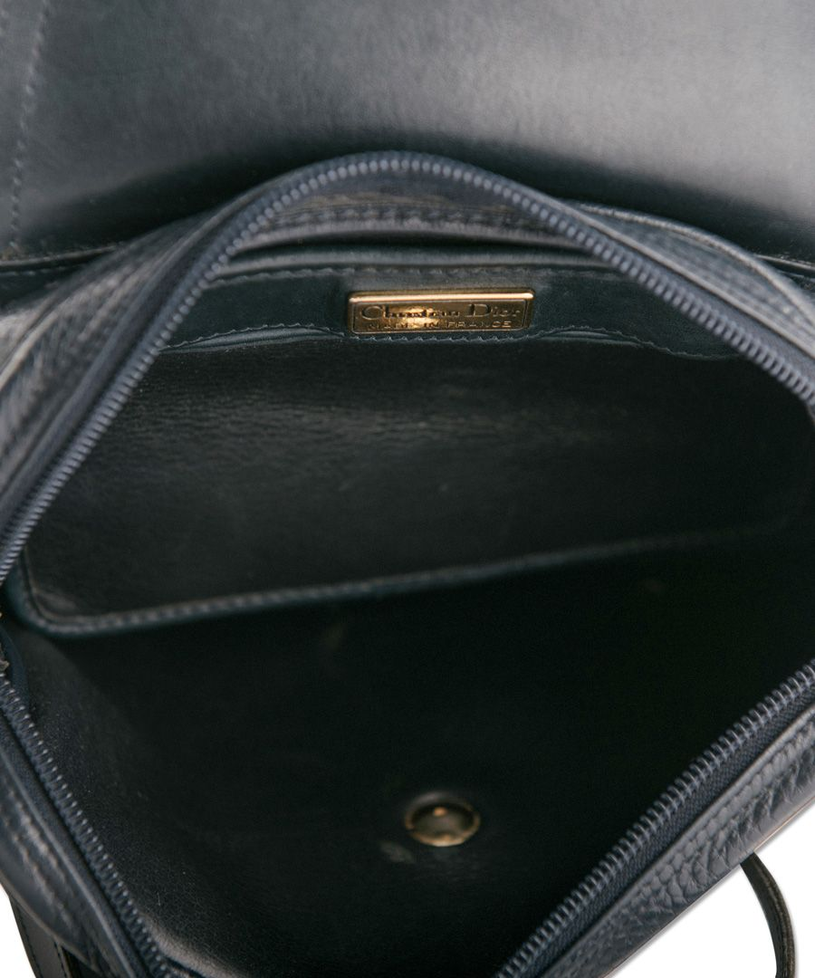 Navy blue leather Flap Sling Bag